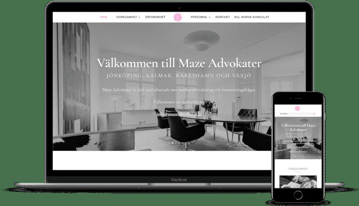 Ny hemsida till Maze Advokater AB